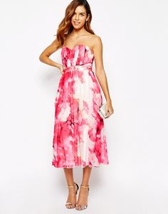 093d067fd1 Midi dress by Little Mistress Delicate, semi-sheer chiffon Tulle skirt  underlay Bandeau neckline Sweetheart design Bead embellished waist Shirred,  ...
