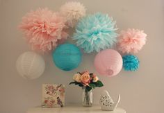 Girls Birthday Decorations,Pink and Aqua Birthday Decorations,Princess Decor 5 Tissue Poms on Etsy, $14.00