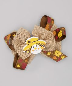 Another great find on #zulily! Leaf & Scarecrow Burlap Bow Clip #zulilyfinds
