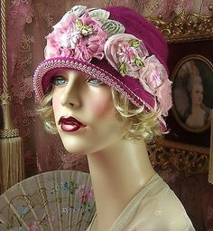 1920'S VINTAGE DOWNTON GATSBY DARK PINK EMBROIDERED FLORAL CLOCHE FLAPPER HAT