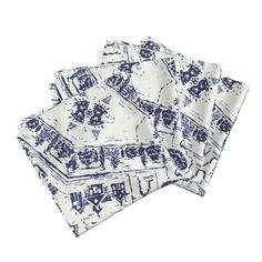 Town and Citizen Toile Dinner Napkins by lfntextiles   Roostery Home Decor