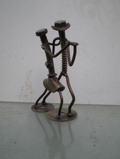 *( ͡ ͡° ͜ ͡ ͡° )* Escultura Bailarines En Hierro Reciclado -
