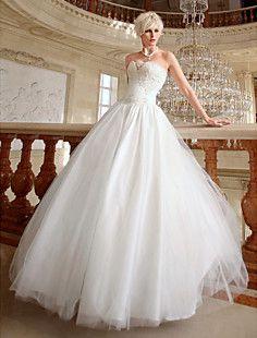 Ball Gown Sweetheart Floor-length Organza Wedding Gown – USD $ 249.99