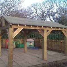 Wooden-Garden-Shelter-Structure-Gazebo-Hot-Tub-Car-Port-Canopy-Kit-4-6m-x-3m