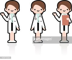 Cute Icon Set: Professional Kindly Doctor Giving A Good Advice