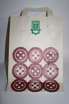 Vintage Paper Shop Bag From Eastern Europe Shopping Retailer CZSR Design Graphic 70's Poland by Fashion4Nation on Etsy