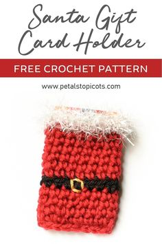 Santa Crochet Gift Card Holder Pattern - Who says gift cards can't be fun? Especially if given in this cute crochet Santa holder! Crochet Christmas Gifts, Christmas Knitting, Crochet Gifts, Christmas Crafts, Holiday Crochet, Christmas Things, Crochet Santa, Cute Crochet, Knit Crochet