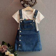 Summer Style Girls Straps dress cute denim Kids Sundress For Girl Party Dresses Child Party Birthday clothes, Party Style , Dresses Kids Girl, Little Girl Outfits, Kids Outfits Girls, Girls Party Dress, Toddler Girl Outfits, Baby Outfits, Toddler Fashion, Baby Dress, Fashion Kids