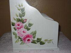 Hand Painted Roses Large Desk Organizer - Left side