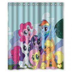 My Little Pony Shower Curtain Blue Bathroom Decor Accessories