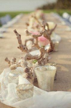 simple beach driftwood wedding centerpiece / http://www.deerpearlflowers.com/driftwood-wedding-decor-ideas/2/