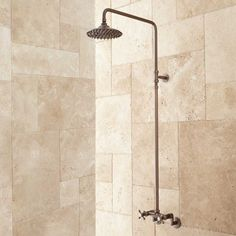 Netta Exposed Pipe Shower with Rainfall Shower Head in Chrome