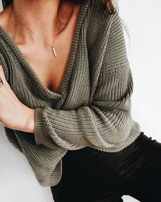 Love this olive draped sweater.