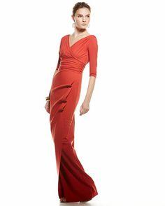 La Petite Robe by Chiara Boni 3/4-sleeve V-Neck Step-In Gown, Paprika - Neiman Marcus