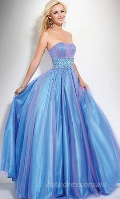 Tube Ball Gown Prom Dresses Blue Long Prom Dresses 00782     jaglady