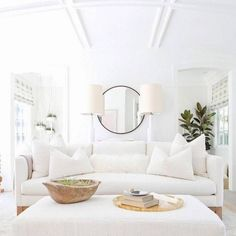 "1,708 Likes, 14 Comments - Style Me Pretty Living (@smpliving) on Instagram: ""This white on white living room has us feeling like we are on a cloud! ☁️ #SMPLoves 