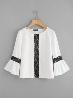 Contrast Lace Applique Bell Sleeve Top -SheIn(Sheinside)
