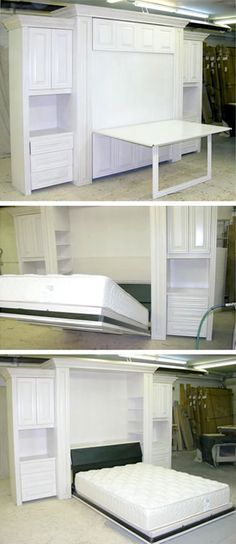 A custom table murphy bed creates a truly dual purpose room: it provides extra work space that fold neatly away when the comfortable bed is needed for guests. Call FlyingBeds today.