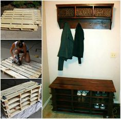 Pallet bench with shelves for shoes and detached hanging shelf with coat hooks.