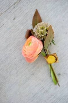 Image detail for -Here, a peach ranunculus with a scabiosa pod and dried foliage, tied . Floral Wedding, Wedding Flowers, Ranunculus Boutonniere, Bouquet, Scabiosa Pods, White Ranunculus, Wedding Flower Inspiration, Elopement Inspiration, Wedding Ideas