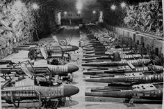 A different sort of German aircraft factory, an underground facility for building He 162 jet fighters in 1945.  The war ended before they could see any significant air combat.