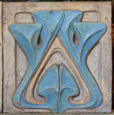 "¤ Alexander Bigot (Designed by Henri Sauvage). Art Pottery Tile. French Art Nouveau Period. Circa 1895. 13"" X 13""."