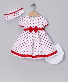 Look at this #zulilyfind! Red Polka Dot Collar Dress Set - Infant #zulilyfinds
