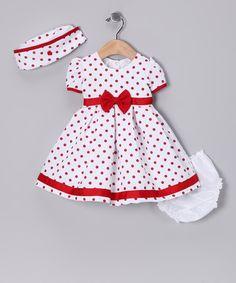 Look at this #zulilyfind! Red Polka Dot Collar Dress Set - Infant #zulilyfinds