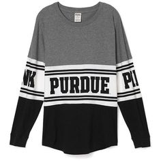 PINK Purdue University Varsity Crew ($65) ❤ liked on Polyvore featuring tops, t-shirts, black, oversized t shirts, slouchy tee, oversized black tee, pink top and graphic t shirts