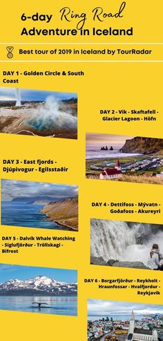 How to travel Iceland in 6 days? The Ring Road itinerary is the best road trip you can take around Iceland to see all the best attractions and spend all your time exploring the country. Check it out! Iceland Tour Packages, Sea Angling, Iceland Travel Tips, Whale Watching Tours, See The Northern Lights, Travel Aesthetic, Day Tours, Natural Wonders, Day Trip