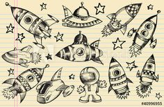 Outer Space Doodle Sketch notebook Elements