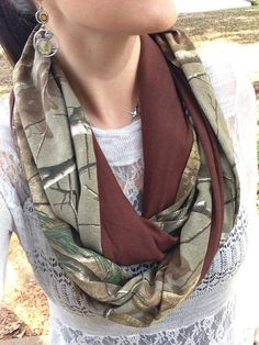 Real Tree Camo Brown Infinity Scarf by SSCbyCrystal on Etsy