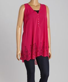 This Raspberry Crochet-Hem Tank - Plus by Simply Irresistible is perfect! #zulilyfinds