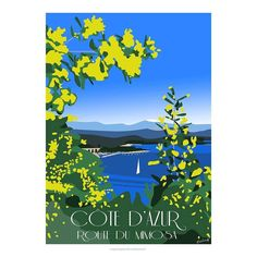 Côte d'azur - Route du mimosa. Affiche, minimaliste, artiste, contemporain, art, artwork, poster, vintage, pinart, illustration, arts, draw, drawing, drawings, inspiration, france, village, paris, galerie, nice, love, french, provence, startups, french tech, innovation, digital art, dark vador, captain train, slip français, drapo, le chocolat des français, comment se ruiner, negresco, grans, provencal, lavande, valensole