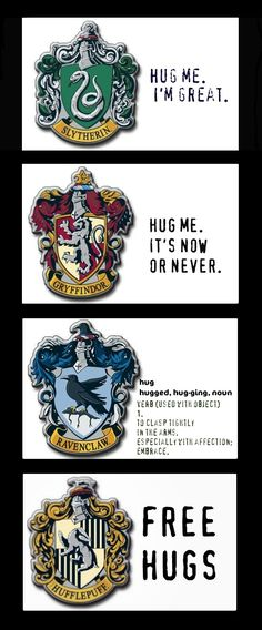 "I'm a mix between Gryffindor and Slytherin so I would say: ""I'm awesome, so hug now or never."""