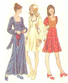 vintage fashion 1970s women's dresses from sewing pattern