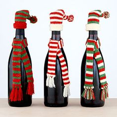 Dress your wine bottles for the winter weather... so cute for gifting! Set of 3 at World Market.