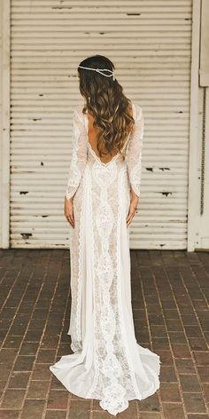 boho bridal gowns lace long sleeve wedding dressses 2