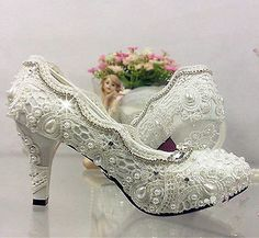 5536470ae3 Lace white ivory crystal Wedding shoes Bridal flats low high heel pump size  in Clothing