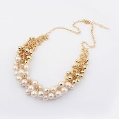 2015 New Hot Sell Simulated Pearl Jewelry Trendy Women Necklaces & Pendants  Short Chokers Statement Necklace For Gift Party