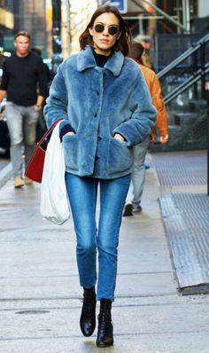 A furry coat is always a good idea.