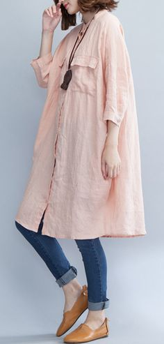 boutique pink linen knee dress plus size clothing traveling dress 2018 bracelet sleeved stand collar cotton shirt dresses3#linendress#boutique#linen#omychic