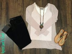 Lovely In Lilac #LL3133 Oh. My. Gosh! This outfit is ahh-mazing! This lightweight sweater is incredibly soft and in a gorgeous lilac color. We layered a white NikiBiki tank top underneath and paired our fabulous distressed cuffed skinnies. Add a little pop of color and some sparkle with this statement necklace and our fabulous metallic gold sandals. This outfit is like wearing your pajamas but you're actually wearing adorable clothes while being comfortable and looking amazing. What more…