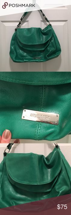 "Lovely Antonello Serio green handbag purse Italy Lovely green Antonello Serio green purse purchased in Florence, Italy. Bright green with silver hardware and nameplate on front. A few very small marks on back (see pic 4) but besides that in excellent pristine condition. Black fabric interior with one zippered pocket. Strap drop approx 7"".  Fits over my shoulder fine. Lovely Italian bag in perfect shape! Antonello Serio Bags Shoulder Bags"