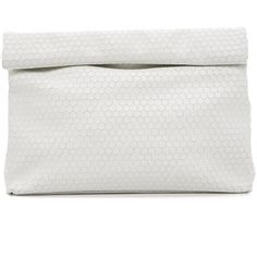 Marie Turnor Accessories Honeycomb Lunch Clutch ($320) ❤ liked on Polyvore featuring bags, handbags, clutches, honeycomb white, faux-leather handbags, leather clutches, pocket purse, genuine leather purse and white purse