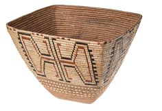 Interior Salish Basket. Collected by F. C. Swannell at Pemberton Meadows, 1917. Imbricated design of dyed and undyed cherry bark. Masterful skill!!!