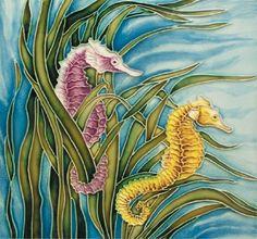 En Vogue Seahorse - Decorative Ceramic Art Tile - 8 in. Ceramic Decor, Ceramic Art, Seahorse Art, Seahorses, Seahorse Painting, Art Nouveau Tiles, Ouvrages D'art, Arte Pop, Decorative Tile