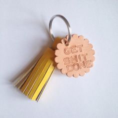 Get Shit Done handstamped leather key fob yellow by theroopouch