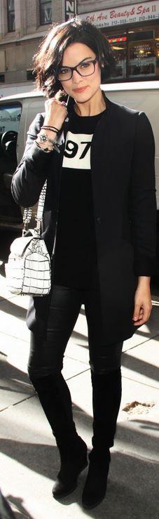 Who made Jaimie Alexander's black print sweater?