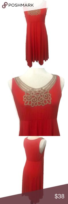 "Poppy Red Orange Jersey Lace Top Sleeveless Dress Poppy Red Orange Jersey Lace Top Sleeveless Dress  ▪︎ Poppy red is more of an orange color ▪︎ Jersey dress with tan soutache lace trim ▪︎ 95% Rayon, 5% Spandex ▪︎ Approx. length 40"", armpit to armpit 20"" Soma Dresses Asymmetrical"